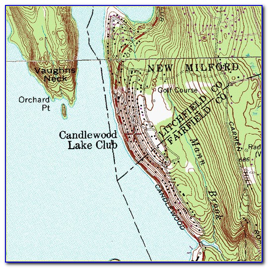 Candlewood Lake Topographic Map