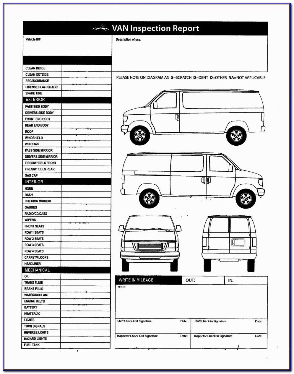 Vehicle Inspection Sheet Template Vehicle Inspection Sheet Template Exltemplates