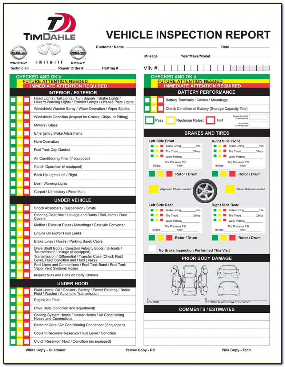 Download Driver Vehicle Inspection Report Template 28 Images