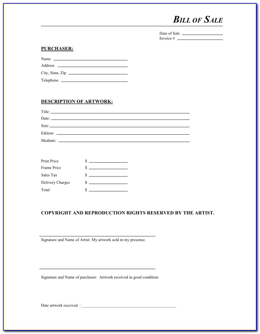 Car Invoice And Bill Of Sale Template