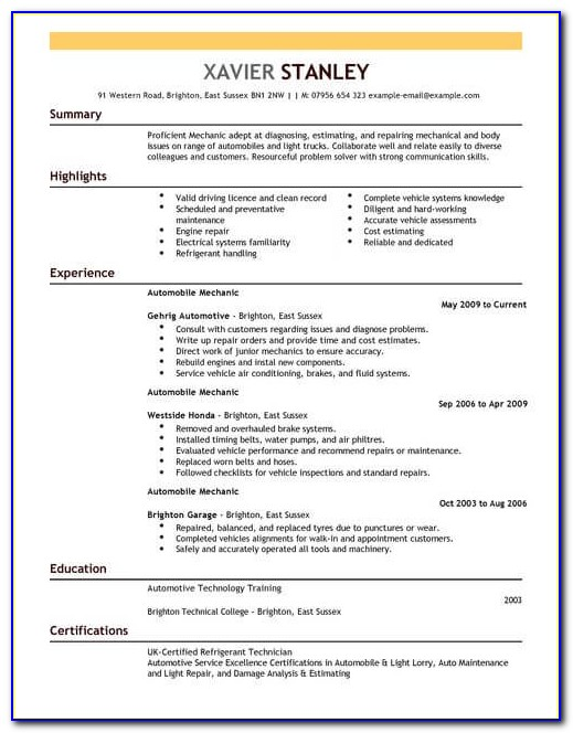 Car Mechanic Cv Template