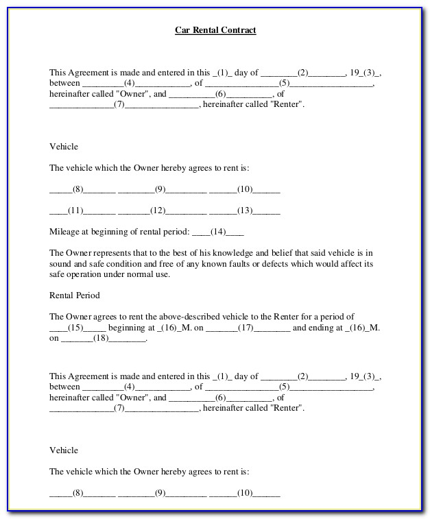 Car Rental Agreement Template South Africa
