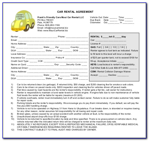 Car Rental Contract Template Download
