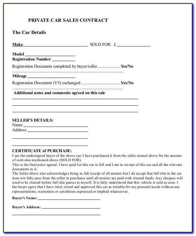Car Sale Contract Template Canada