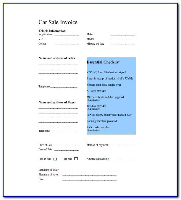 Car Sales Invoice Template Uk