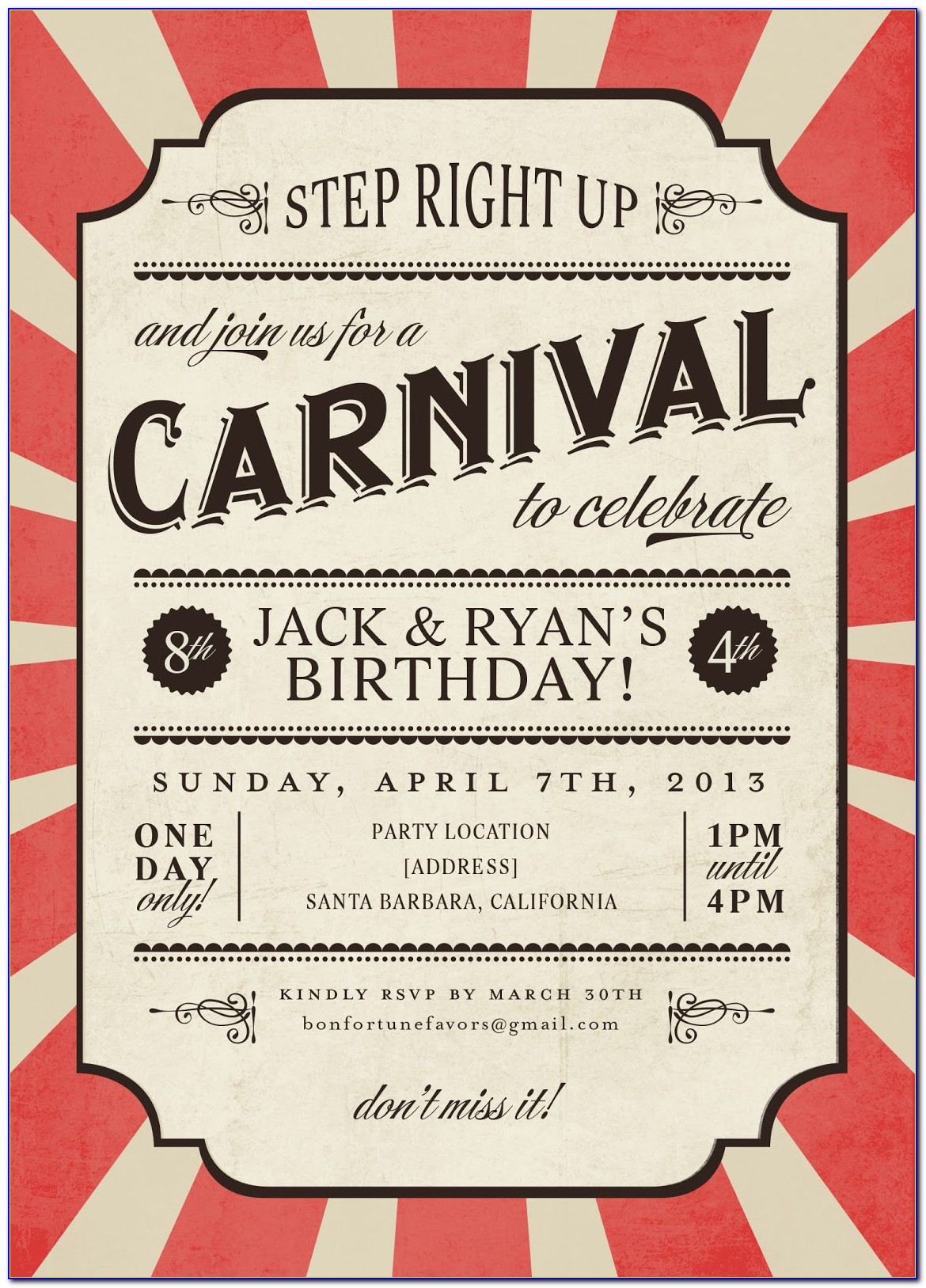 Carnival Birthday Party Invitations Templates