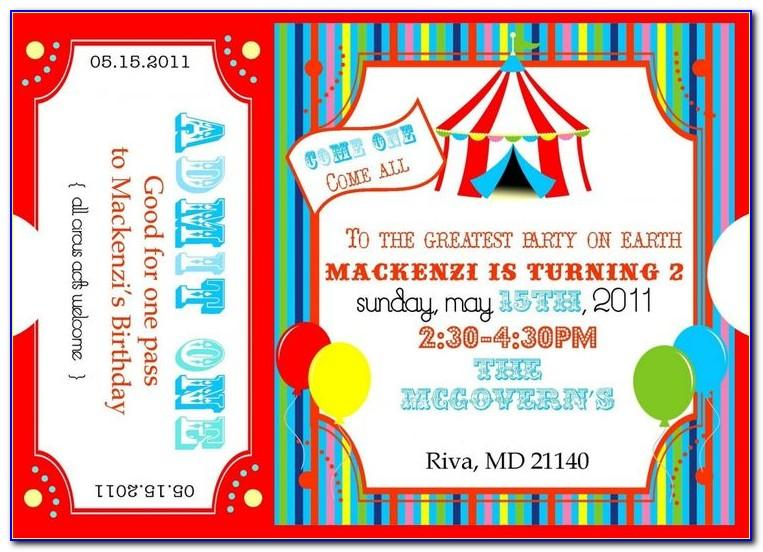 Carnival Birthday Ticket Invitations Template