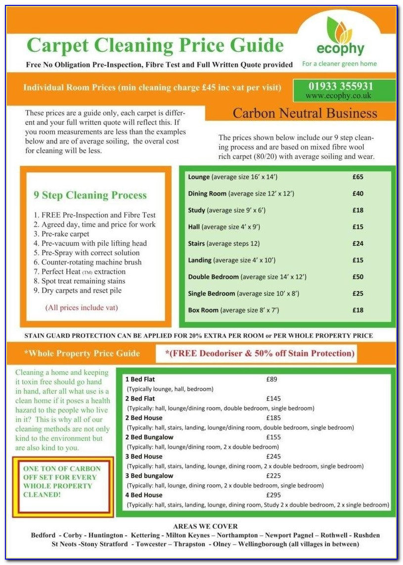 Carpet Cleaning Price List Template