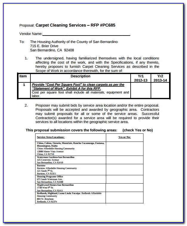 Carpet Cleaning Proposal Template