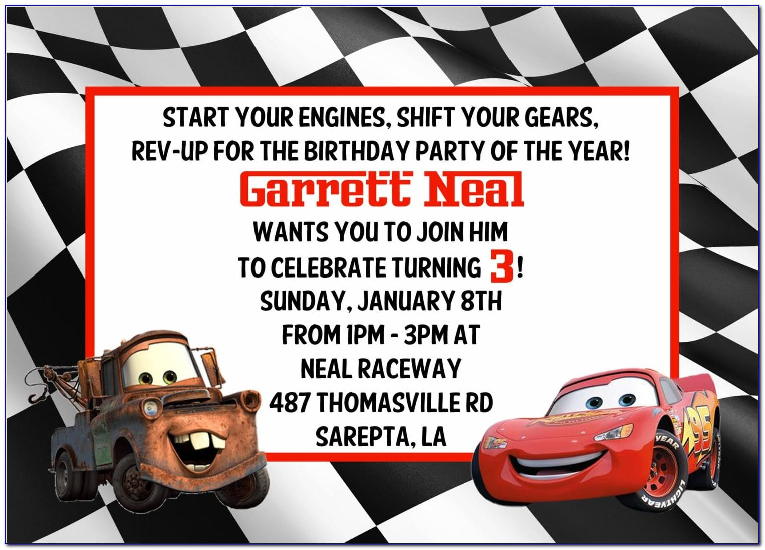 Cars Party Invite Template Free
