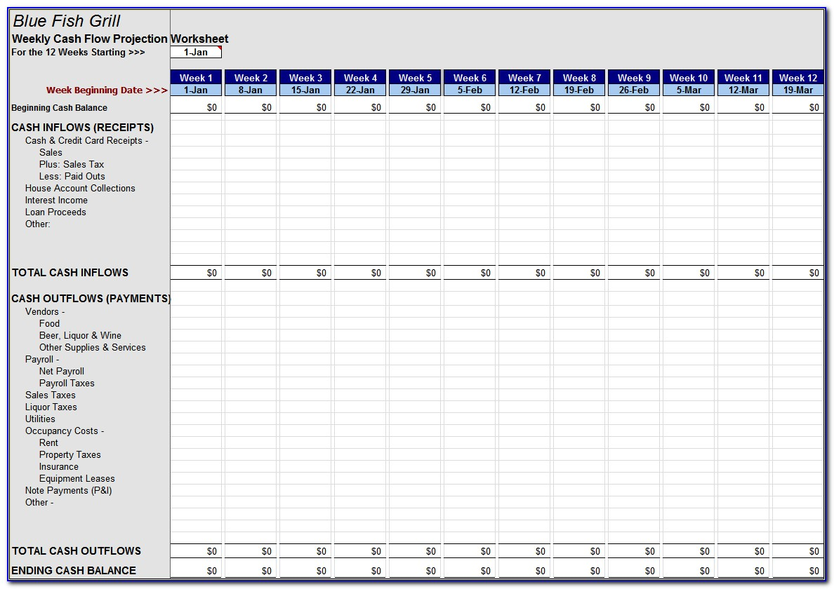 Project Cash Flow Spreadsheet For Weekly Cash Flow Worksheet Download The Forecasting Spreadsheet