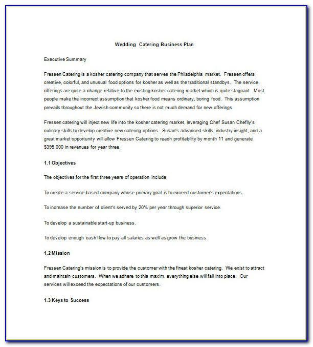 Catering Business Plan Examples Pdf