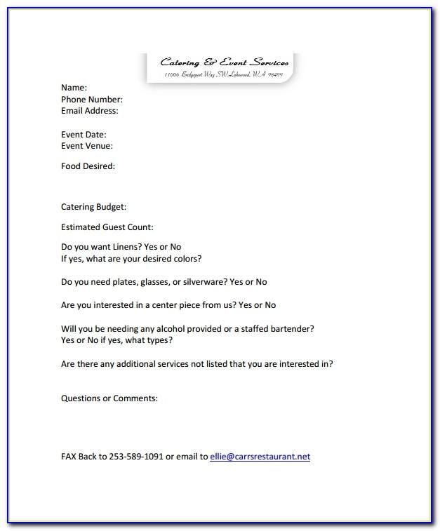 Catering Contract Quote Template