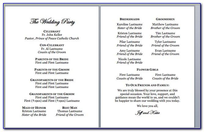 Catholic Church Wedding Program Template Without Mass