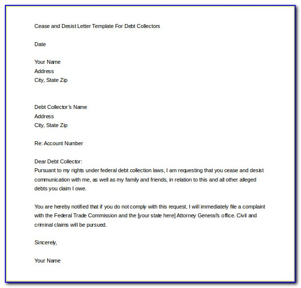 Cease And Desist Letter Template For Debt Collectors Canada