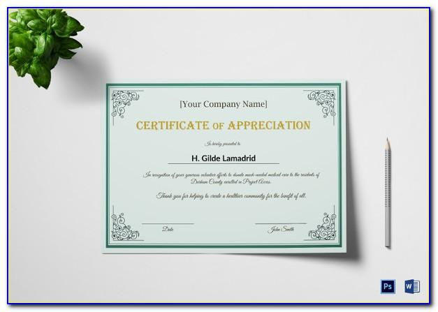 Certificate Of Appreciation For Employees Template Free