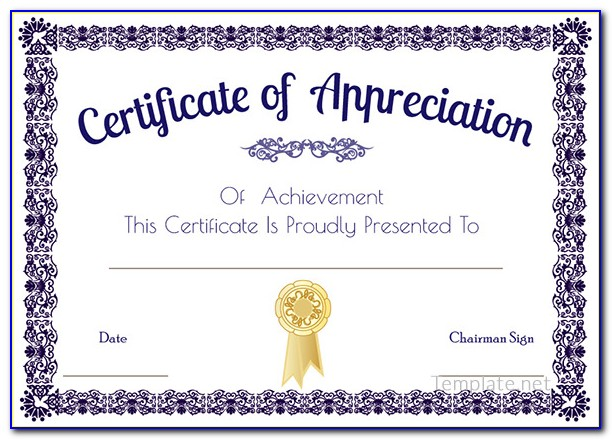 Certificate Of Appreciation Template Free Download Ppt