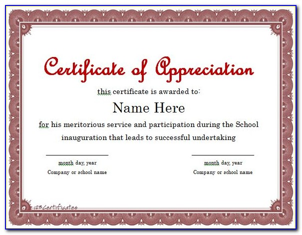 Certificate Of Appreciation Template Word Doc Free