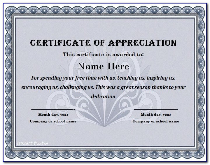 Certificate Of Appreciation Templates Free Powerpoint