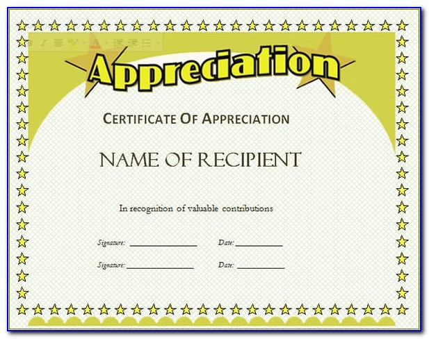 Certificate Of Appreciation Templates Ppt