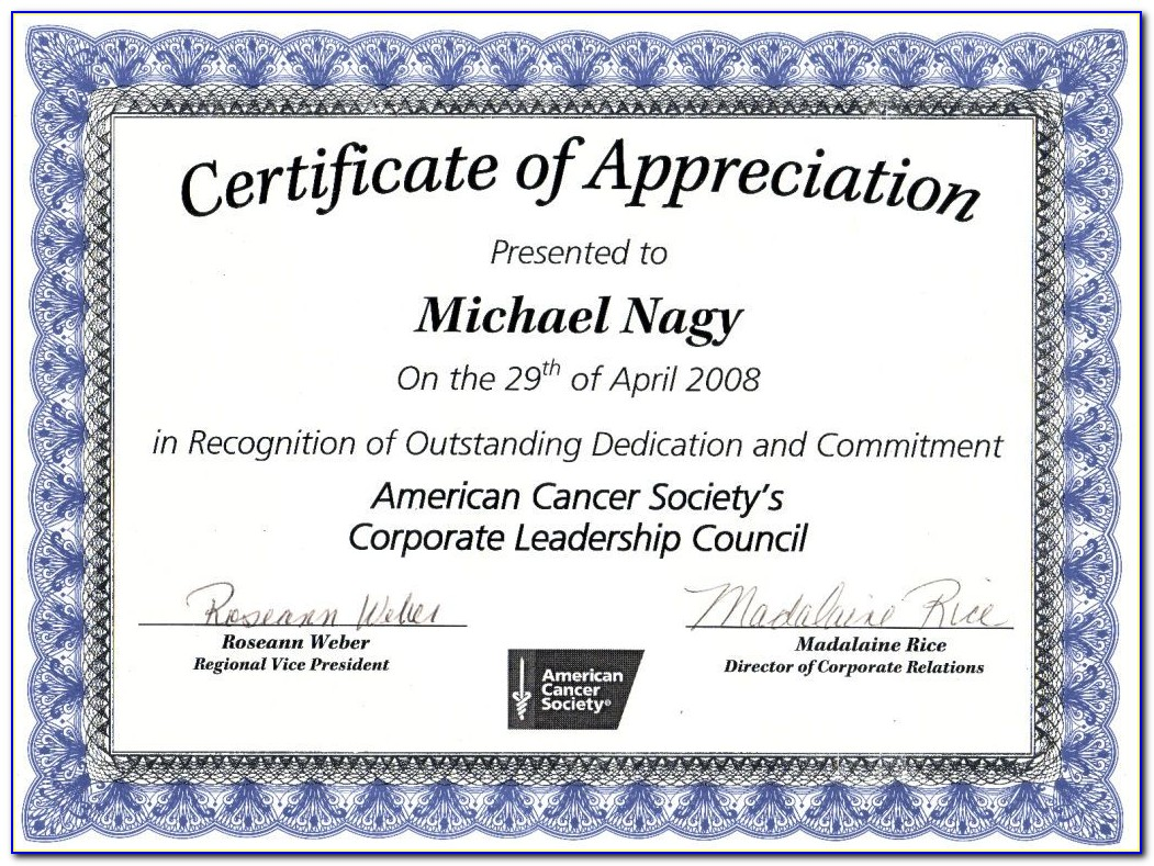 Certificate Of Appreciation Templates Word