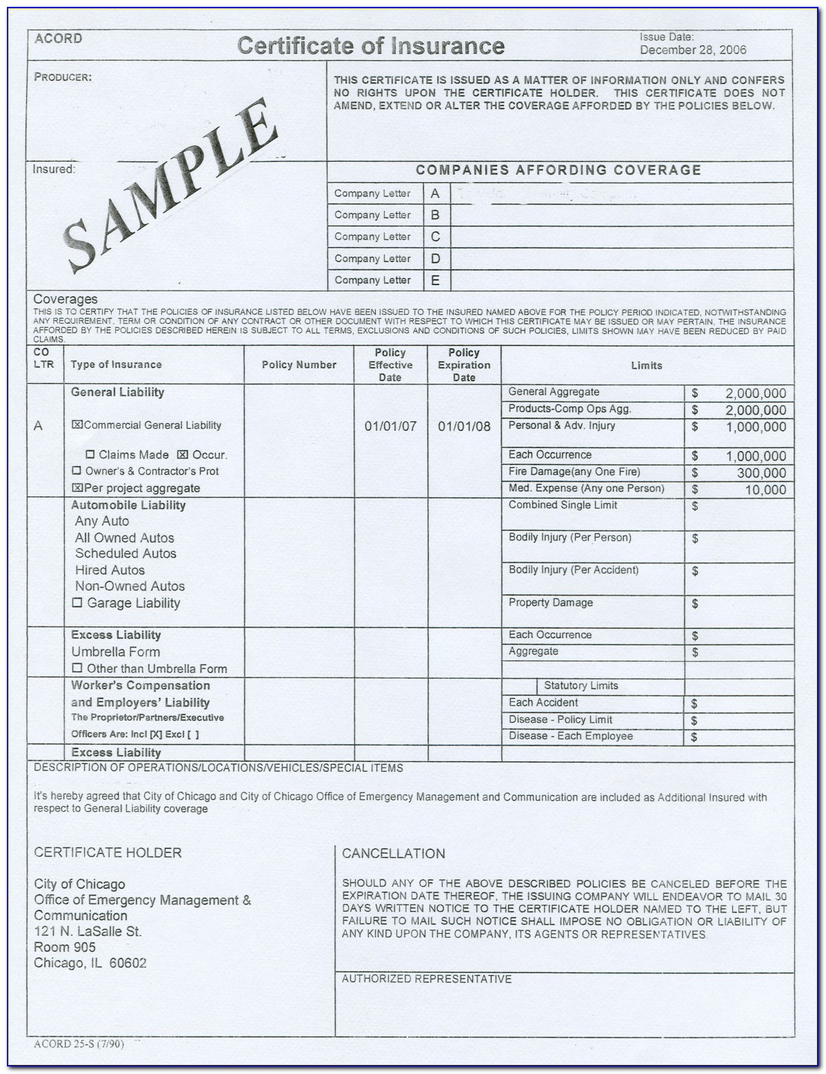 Certificate Of Insurance Acord Form Fillable