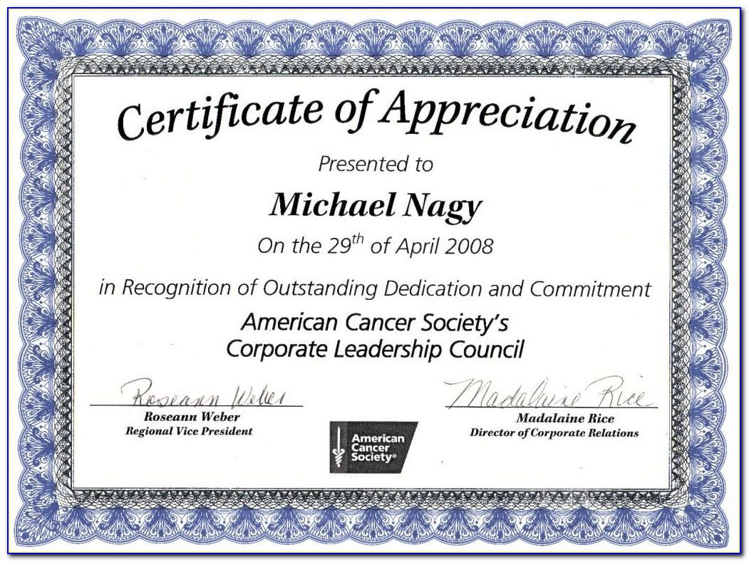 Certificate Of Recognition Template Free Editable