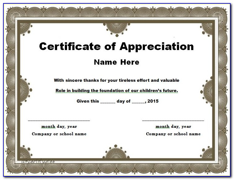 Certificate Of Recognition Template Free