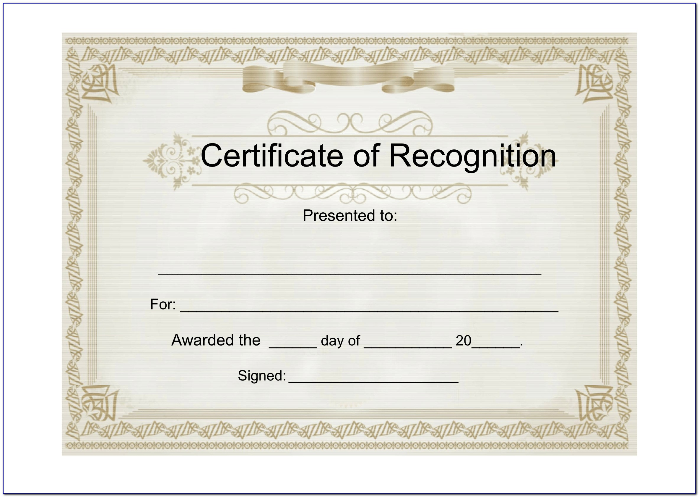 Certificate Of Recognition Template Word