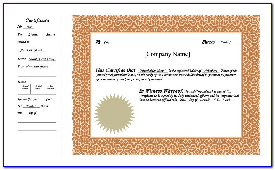 Certificate Of Stock Template Word