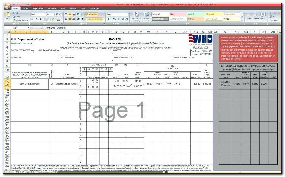 Certified Payroll Forms Excel