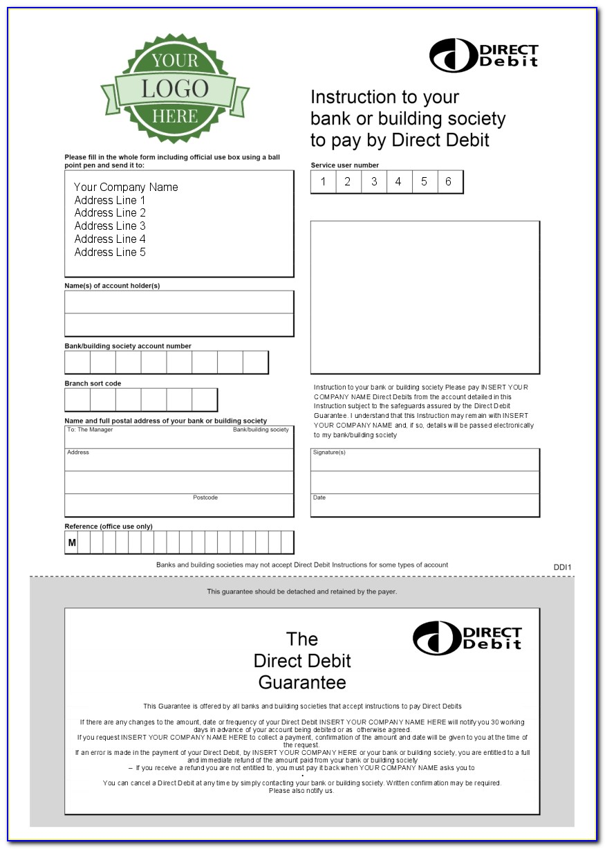 Charity Direct Debit Form Template