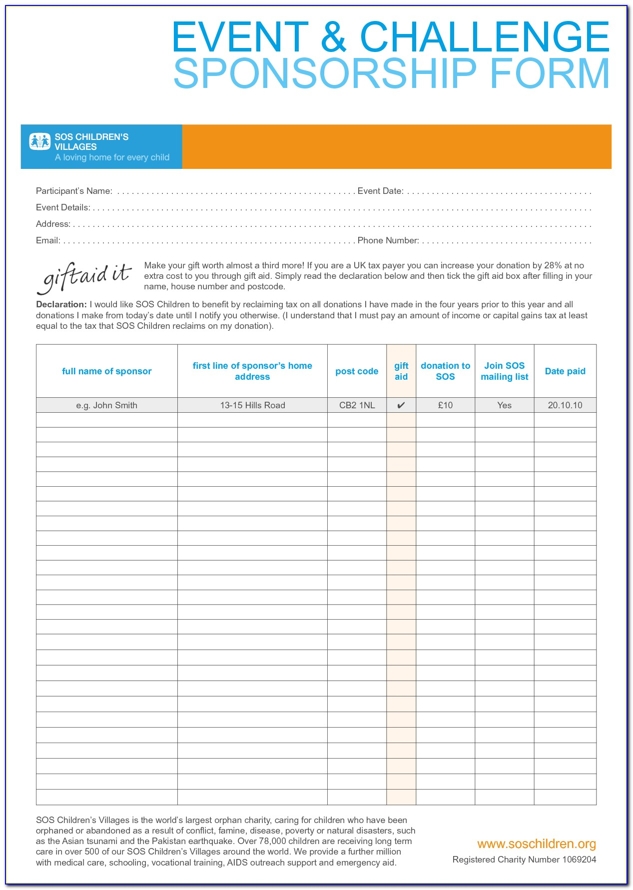 Charity Fundraising Sponsorship Form Template