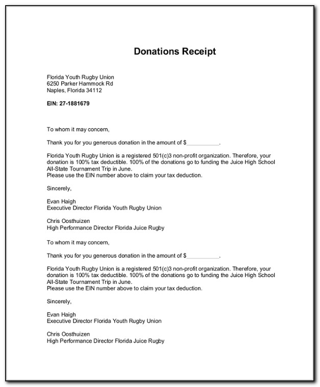 Charity Prize Donation Letter Template