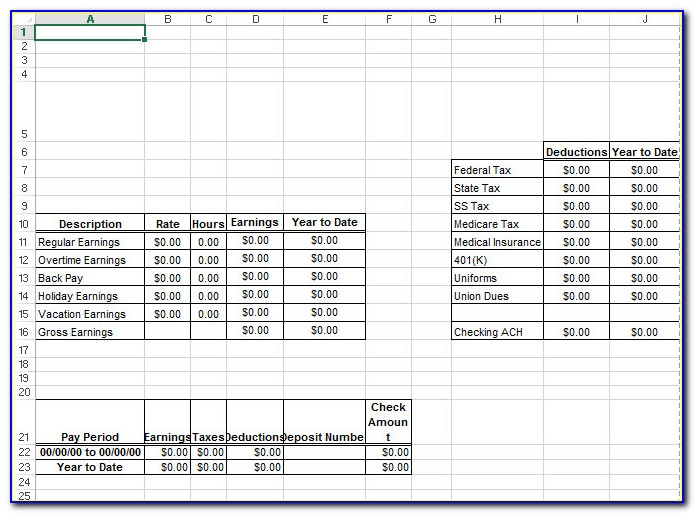 Check Stub Template Excel Free