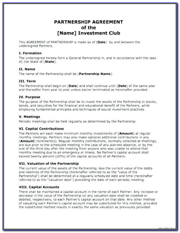 Investment Club Agreement Fresh Restaurant Partnership Agreement Template Investment Examples Ideas Image