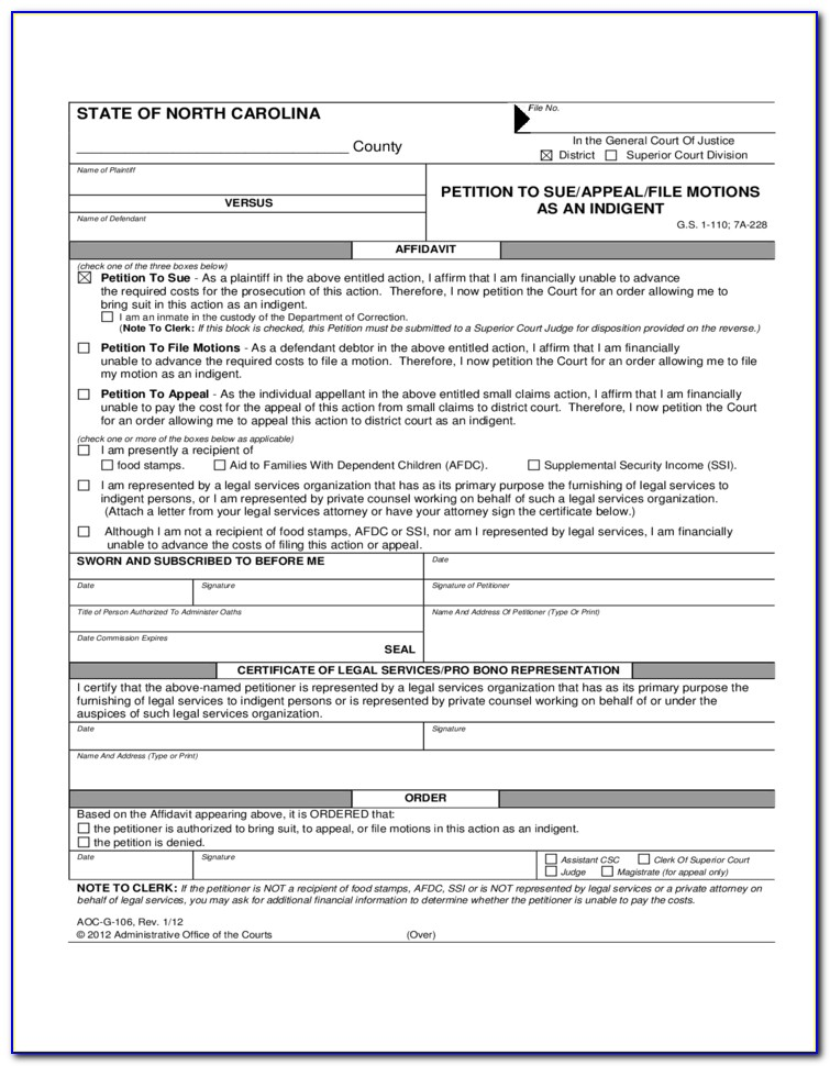 Child Custody Complaint Form Nc