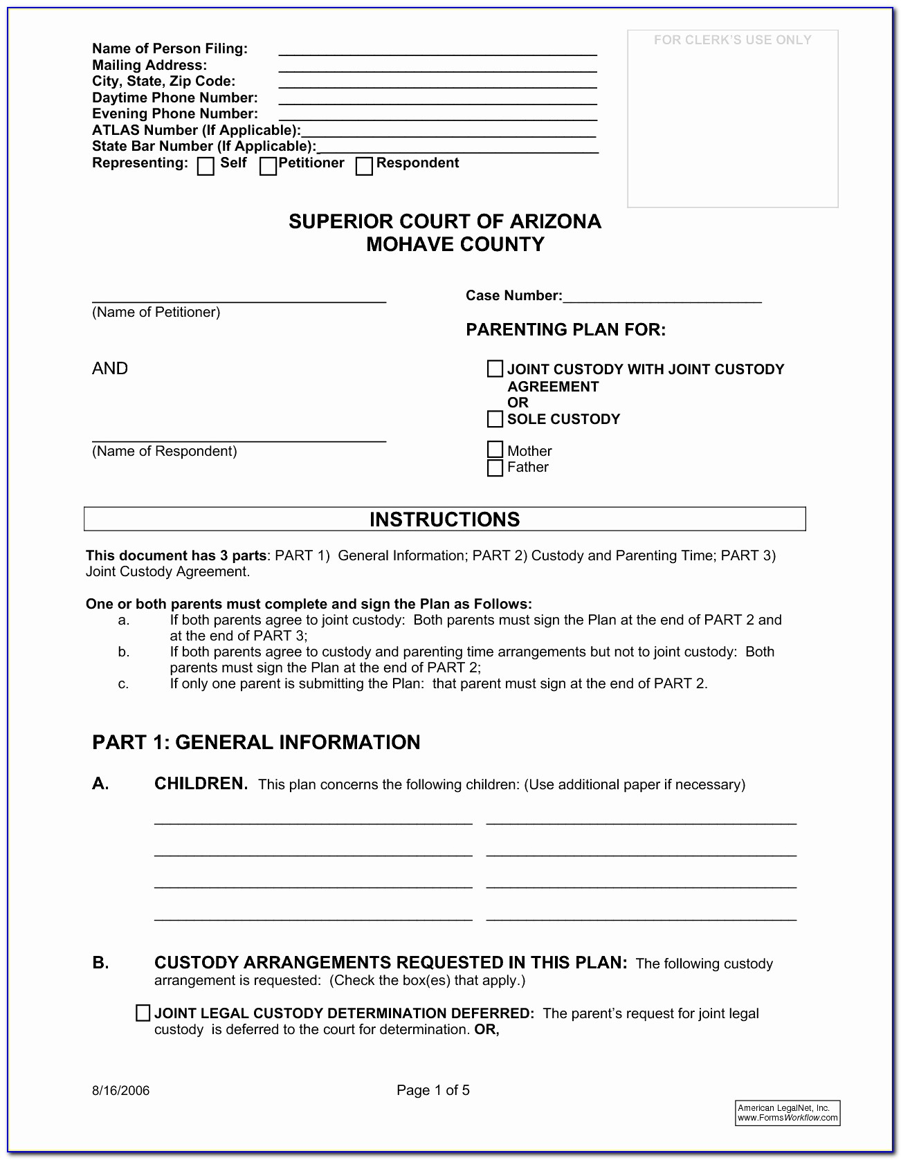 Agreement Template For Child Custody   vincegray30