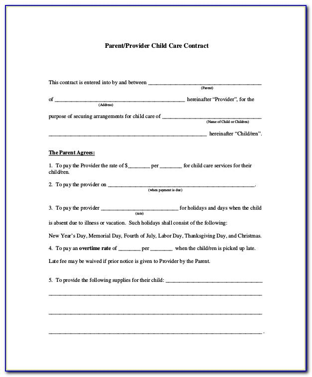 Childcare Contract Example