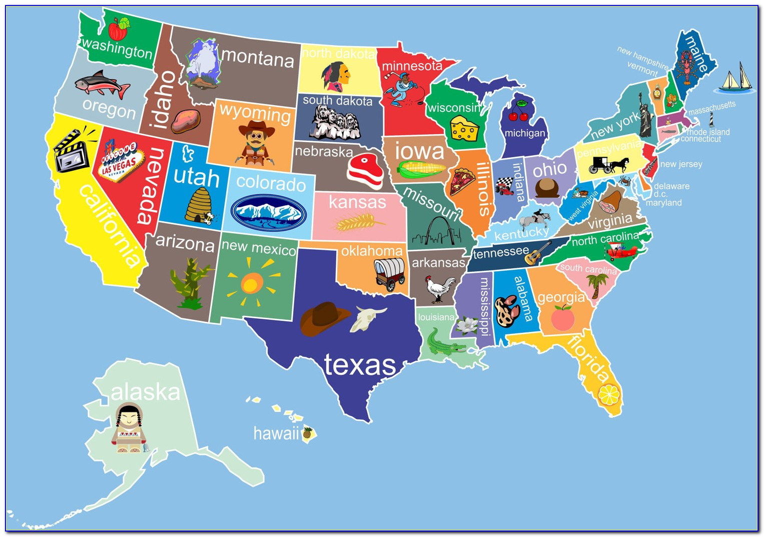 Childrens Map Of The United States Of America