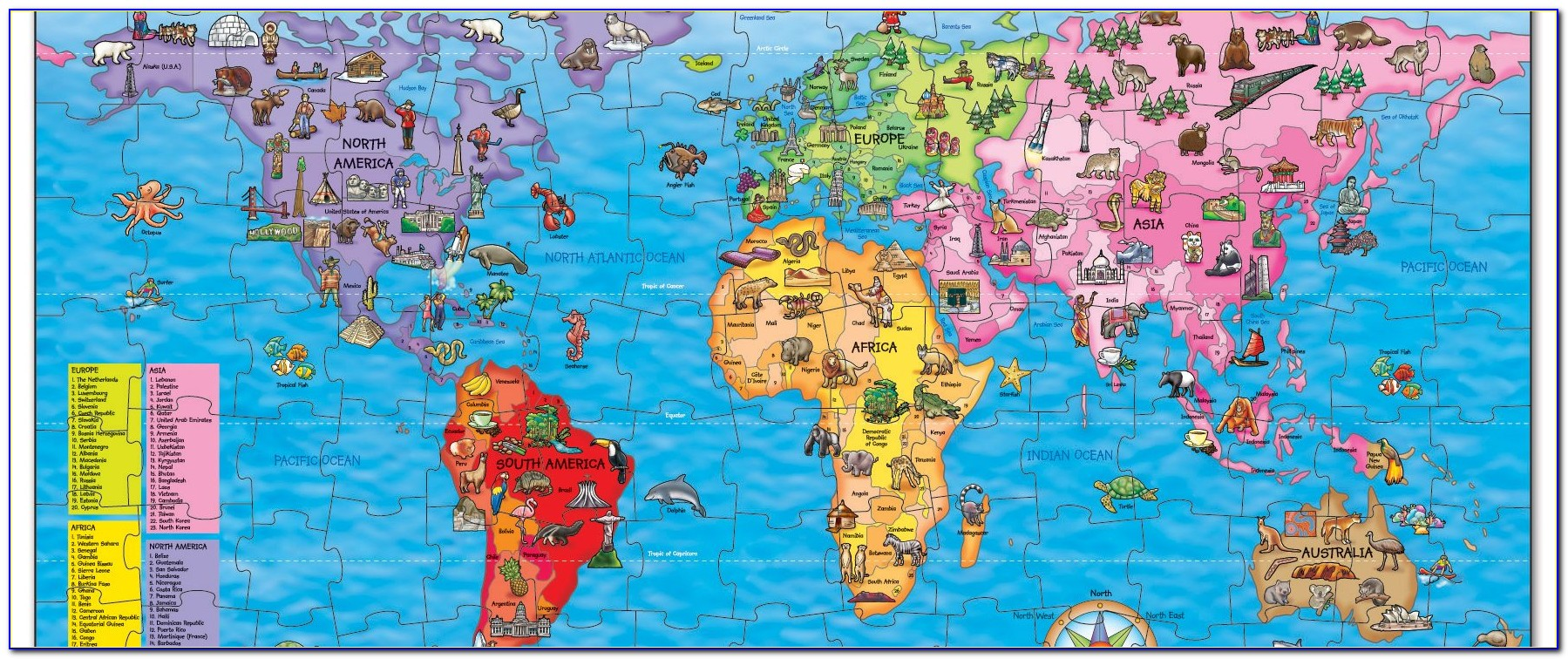 Childrens Map Of The World Giant 500 Piece Jigsaw Puzzle