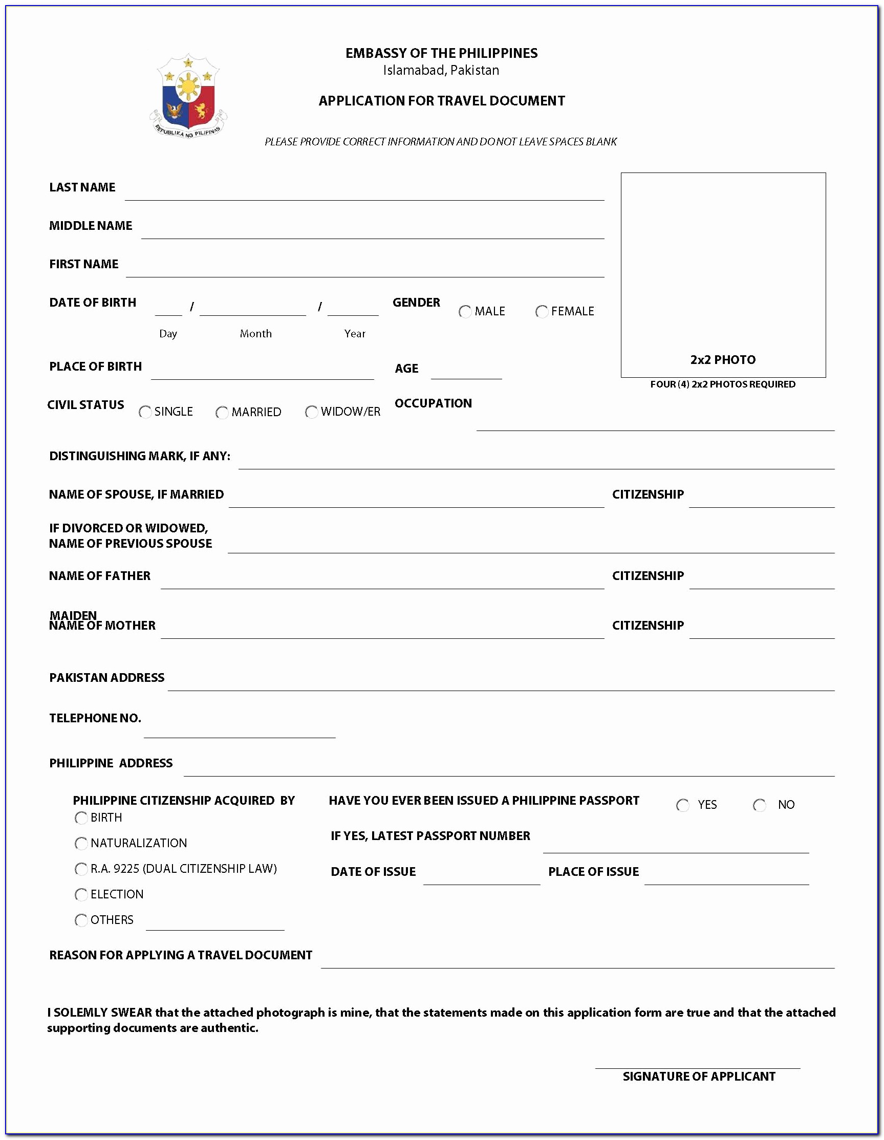 China Visit Visa Application Form For Pakistan Beautiful Philippine Embassy Forms