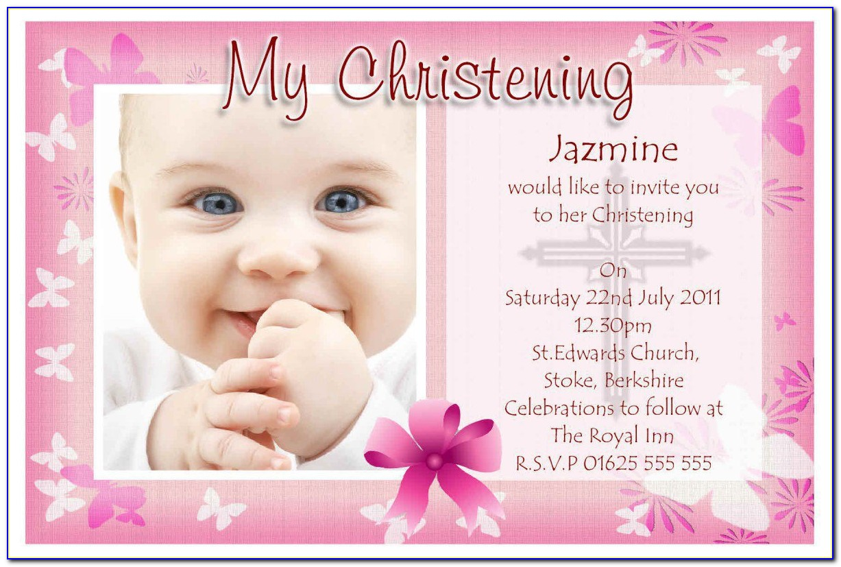 Christening Invitation Template Floral
