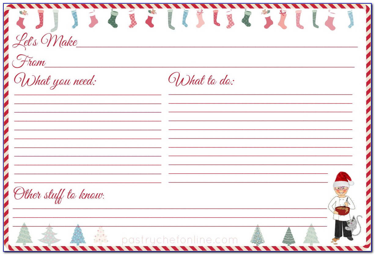 Christmas Cookie Recipe Card Template