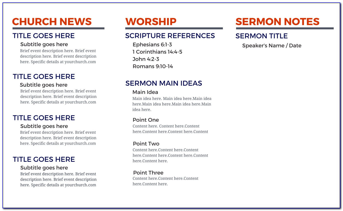 Church Bulletin Templates Free