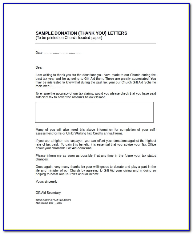Church Donation Thank You Letter Template