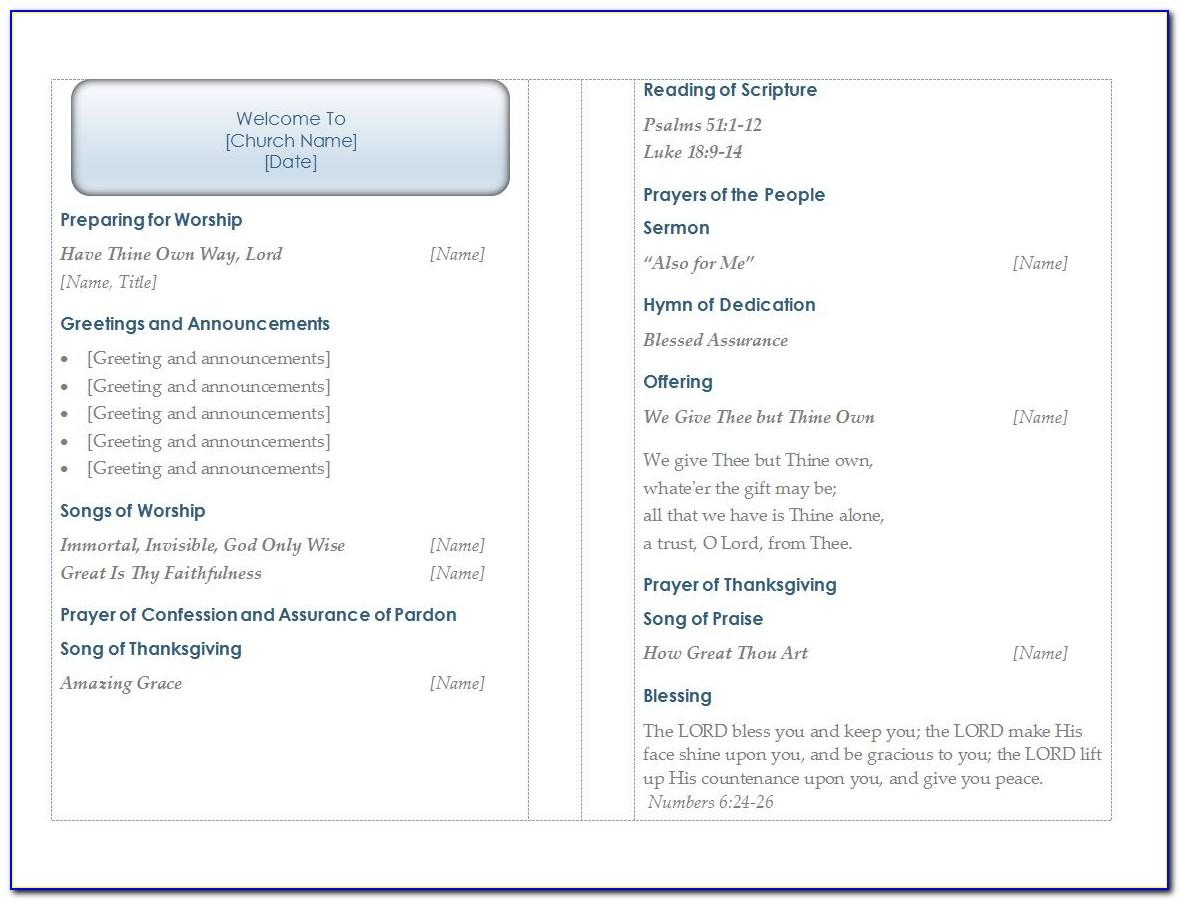Church Program Templates Word