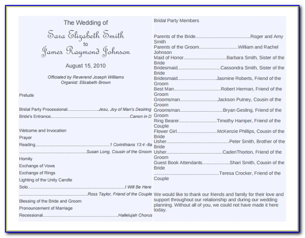 Church Wedding Program Examples