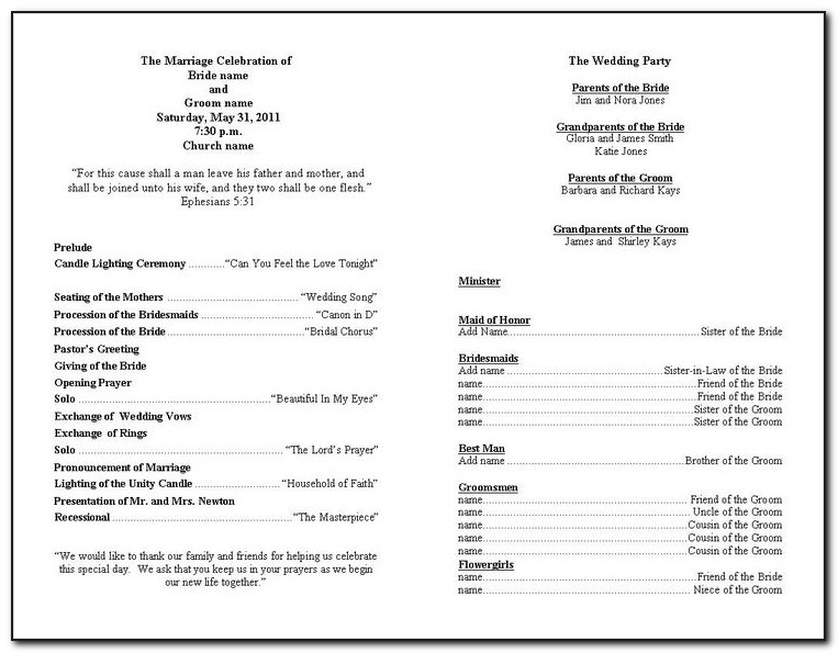 Church Wedding Program Layout