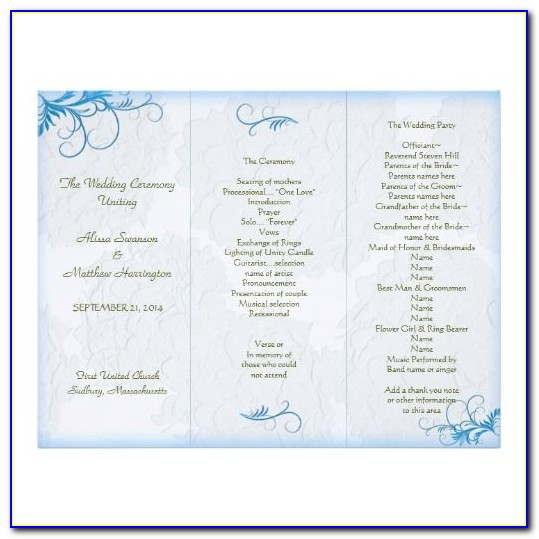 Church Wedding Program Template Free